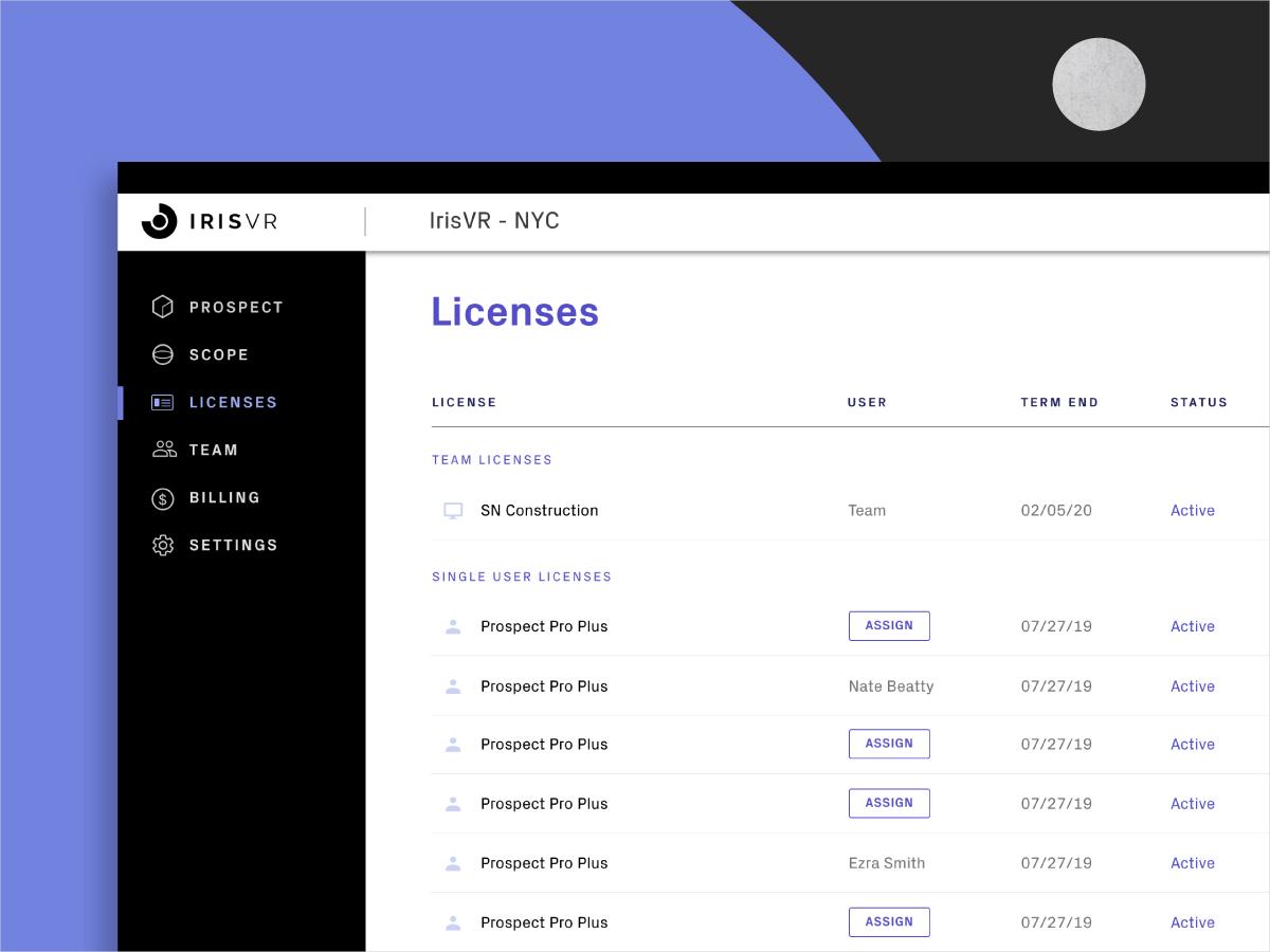 VR Software Account Portal