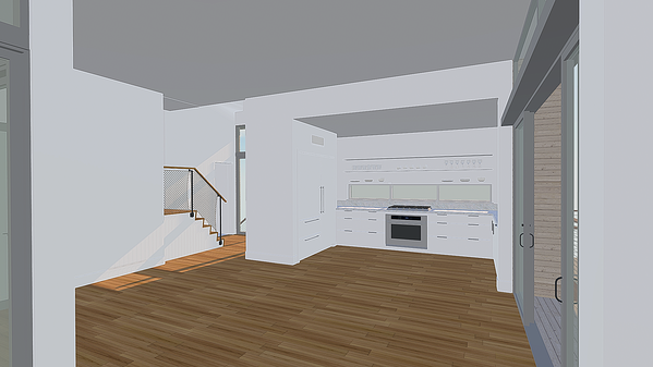 Different perspectives of a kitchen in VR