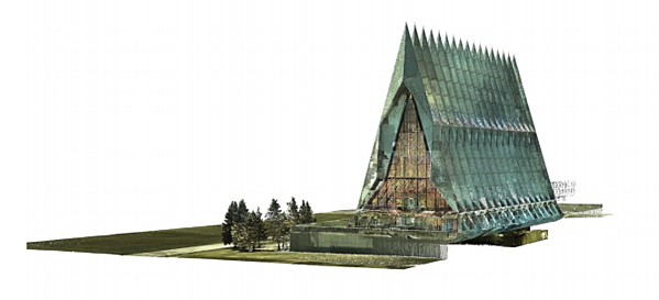 Laser Scan of the Cadet Chapel, displayed in revit                                                                                                         (Image courtesy: RTC handout)