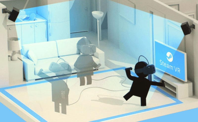 Setting up the HTC Vive requires some room but is very easy and provides freedom of movement